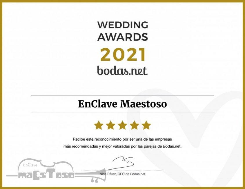 EnClave Maestoso consigue el Wedding Awards 2021 de Bodas.net