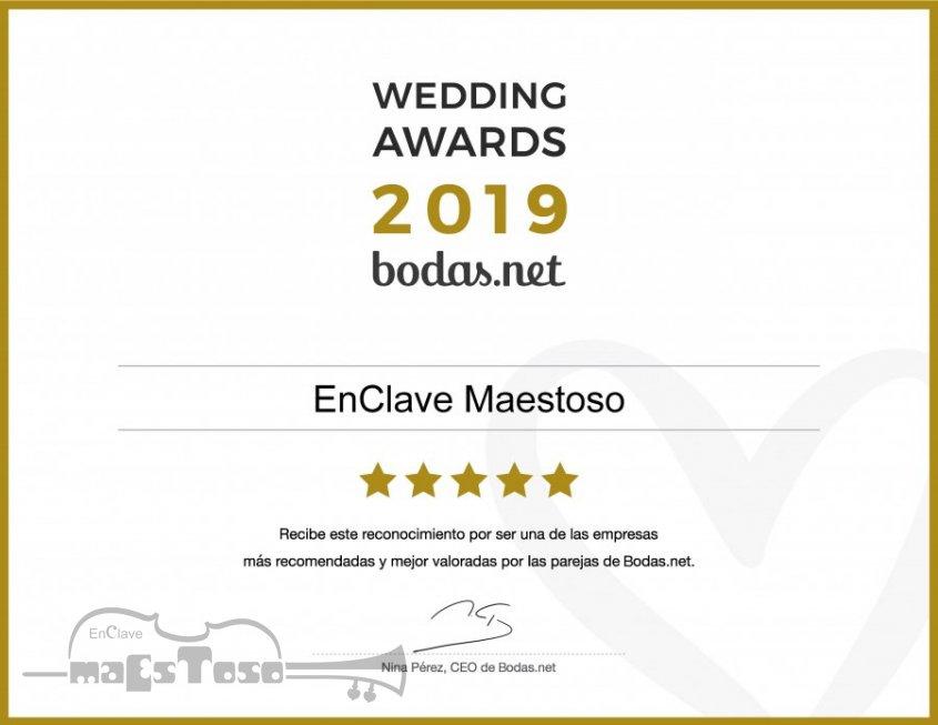 EnClave Maestoso recibe un Wedding Awards 2019 de Bodas.net
