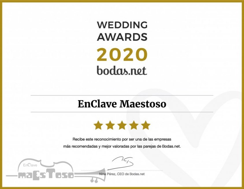 EnClave Maestoso recibe un Wedding Awards 2020 de Bodas.net