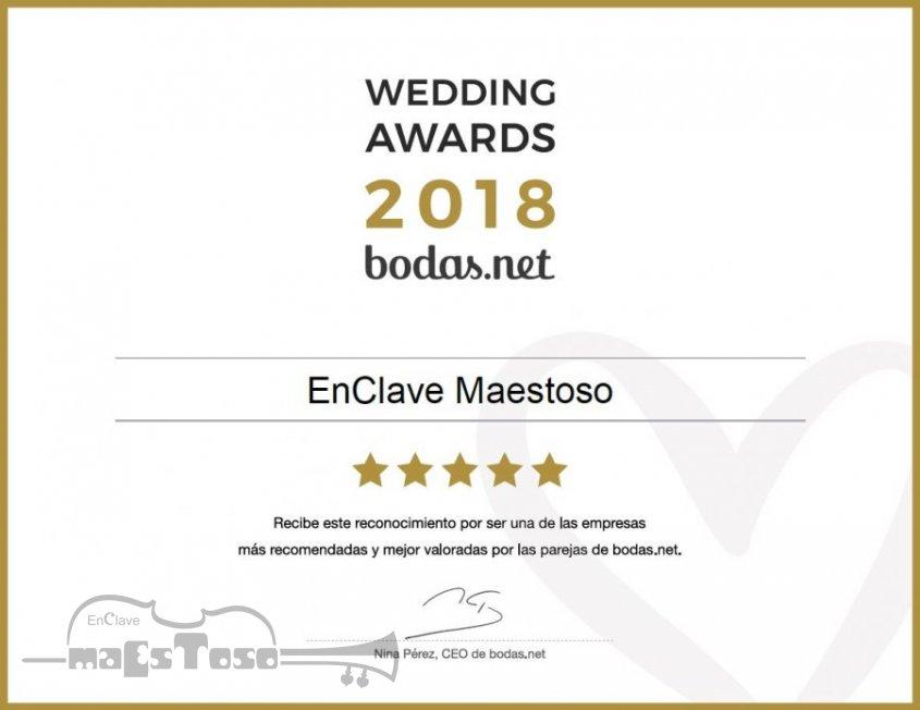 Wedding Awards 2018 en la categoría Música de Bodas.net