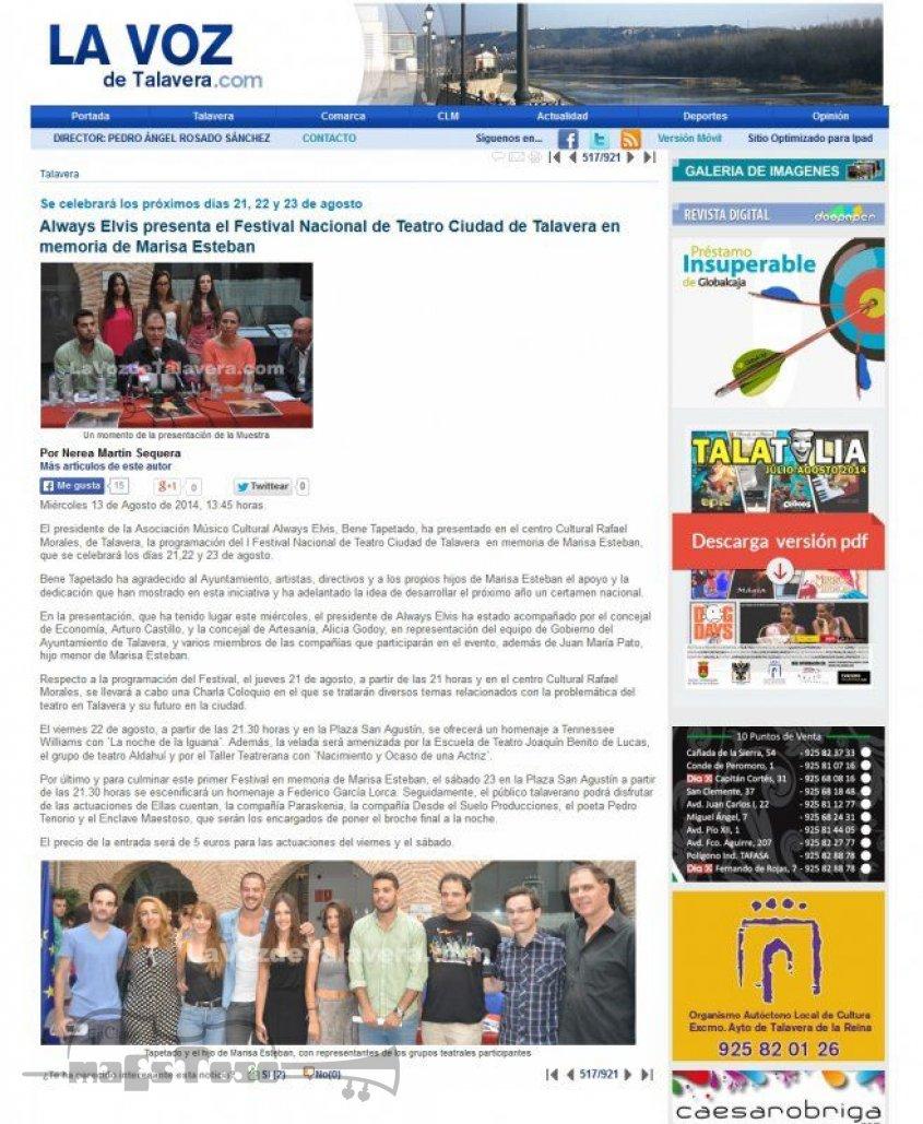 Always Elvis presenta Festival Nacional de Teatro Ciudad de Talavera Marisa Esteban