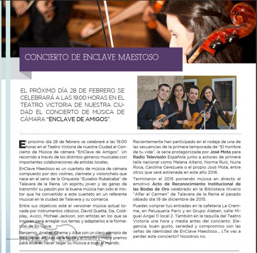 Concierto de EnClave Maestoso - Cover Talavera Febrero 2016