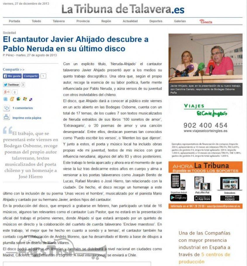 El Cantautor Javier Ahijado Descubre a Pablo Neruda en su Último Disco