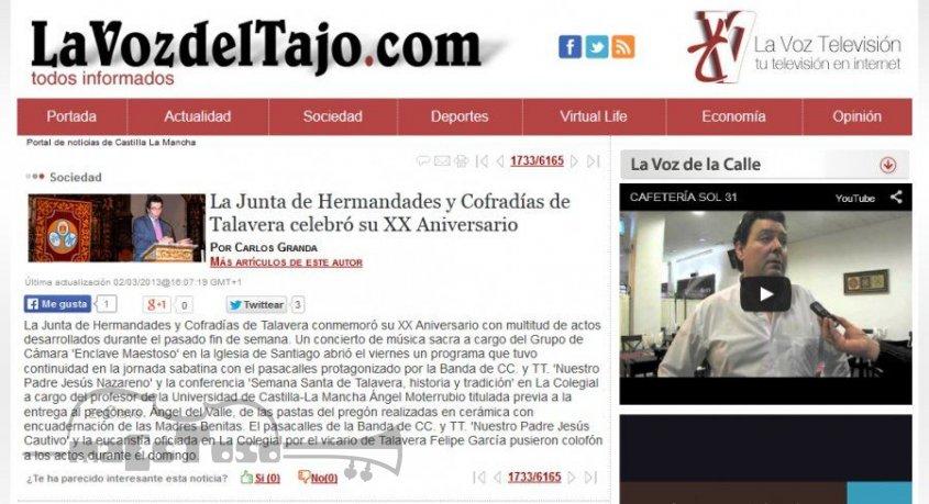 La Junta de Hermandades y Cofradías de Talavera Celebró su XX Aniversario