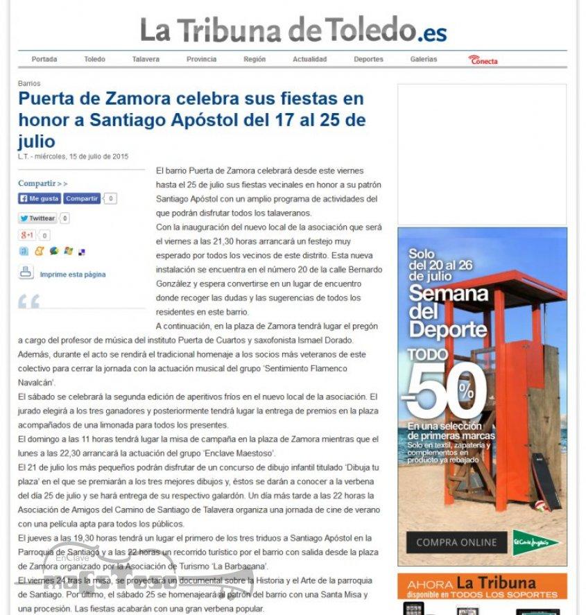 Puerta de Zamora celebra sus fiestas en honor a Santiago Apostol del 17 al 25 Julio