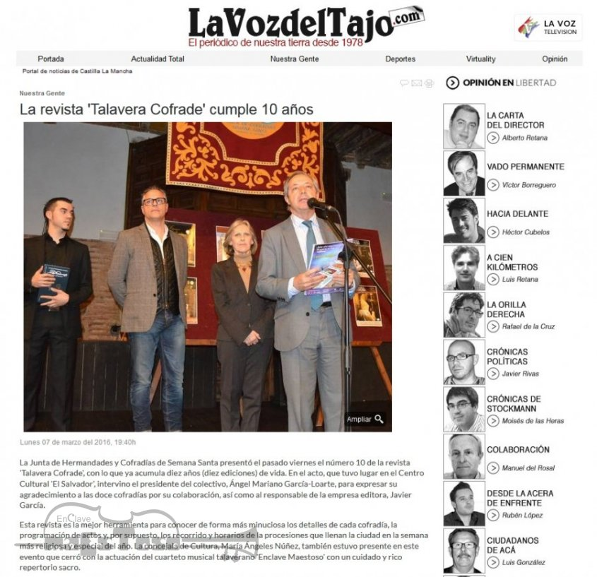 La revista 'Talavera Cofrade' cumple 10 años