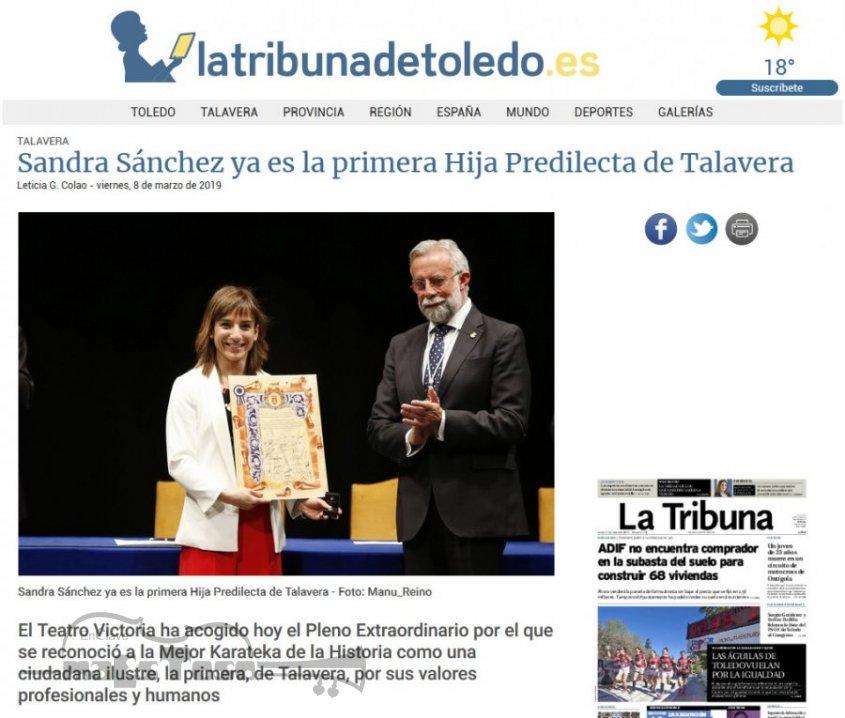 Sandra Sánchez ya es la primera Hija Predilecta de Talavera