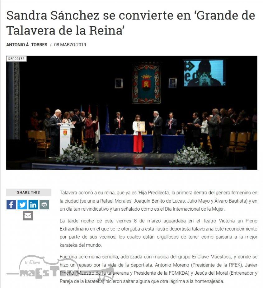 Sandra Sánchez se convierte en 'Grande de Talavera de la Reina'
